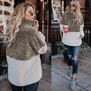 Sherpa fur color block zip pullover sweater jacket